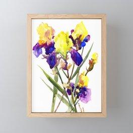 Garden Iris Floral Artwork Yellow Purple Blue Floral design, bright colored floral design Framed Mini Art Print