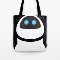 pixar Tote Bags featuring PIXAR CHARACTER POSTER - Eve - WALL-E by Marco Calignano