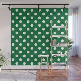 Polka Dots (White & Dark Green Pattern) Wall Mural