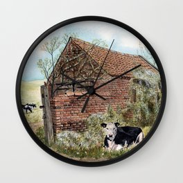 Farm Shed with Cow Wall Clock