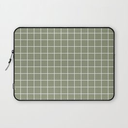 Artichoke - grey color - White Lines Grid Pattern Laptop Sleeve
