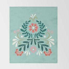 Floral Folk Pattern Throw Blanket