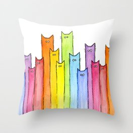 Cat Rainbow Watercolor Whimsical Animals Cats Pattern Throw Pillow