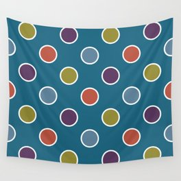 Geometric Candy Dot Circles In Brown Purple Blue Green Wall Tapestry
