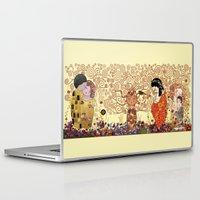 klimt Laptop & iPad Skins featuring Kokeshis Klimt by Pendientera