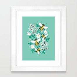 Blooms & Bees Framed Art Print