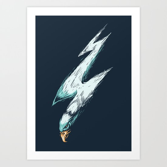 lightning eagles Art Print