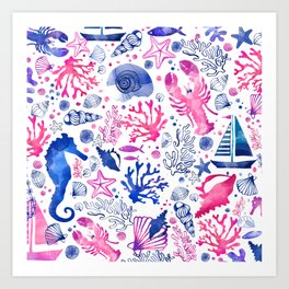 Hand painted blush pink blue watercolor nautical sea pattern Art Print