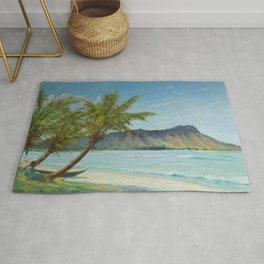 Waikiki Beach at First Sunlight tropical island landscape painting by D. Howard Hitchcock Rug