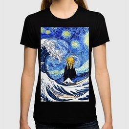 The Great Wave Off Kanagawa Starry Night Scream T-shirt