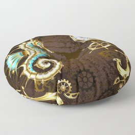 Wooden Background with Mechanical Seahorse ( Steampunk ) Floor Pillow