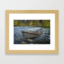 Canoe on the Thornapple River in Autumn Framed Art Print