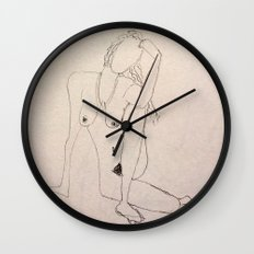 seated nude - pencil sketch Wall Clock