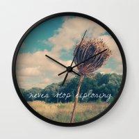 never stop exploring Wall Clocks featuring Never Stop Exploring II by Sandra Arduini