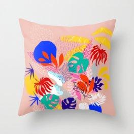Keep Growing - Tropical plant on peach Throw Pillow