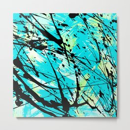 Abstract teal lime green brushstrokes black paint splatters Metal Print