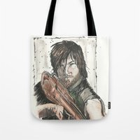 daryl dixon Tote Bags featuring Daryl Dixon by Eric Dockery