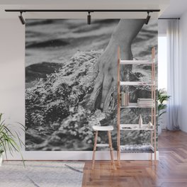Running hand through the water, under the blue again black and white photograph / art photography Wall Mural