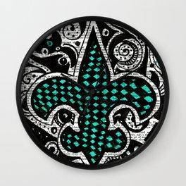 Fleur de Lis Teal Wall Clock