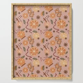 Citrus Holiday Spice Pattern - pink Serving Tray