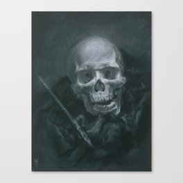 Skull with Paint Brush Canvas Print