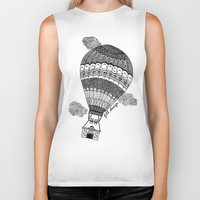 baloon Biker Tanks featuring Hot Air Baloon by Fill Design by mervegokdere