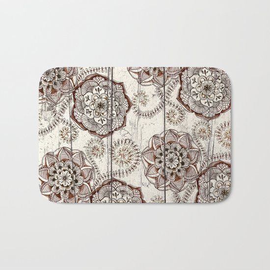 Coffee & Cocoa - brown & cream floral doodles on wood Bath Mat