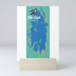 Lake Nipigon Canada vintage map. Mini Art Print
