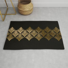Reims, France: Luxueux Black and Gold Art Deco Rug