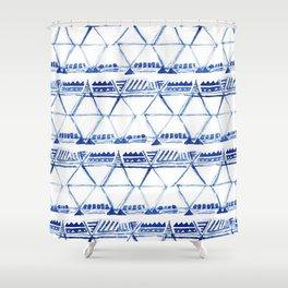 Tribal indigo pattern Shower Curtain