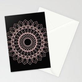 Mandala Black and Blush Pink Stationery Cards