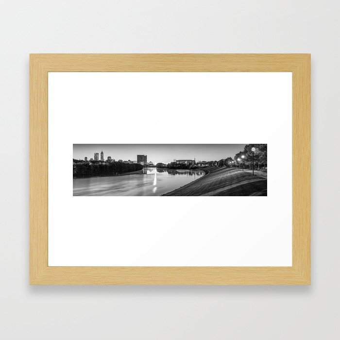 Indianapolis Skyline Panorama Over the White River - Black and White Framed Art Print