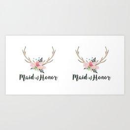 antlers maid of honor Art Print