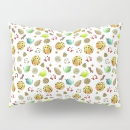 Christmas Set. New Year decoration Adornment coniferous green with cones, balls, berries, citrus Pillow Sham