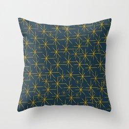 Stella - Atomic Age Mid Century Modern Pattern in Light Mustard Yellow and Navy Blue Throw Pillow