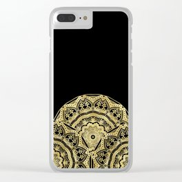Golden Mandalas on Black Clear iPhone Case