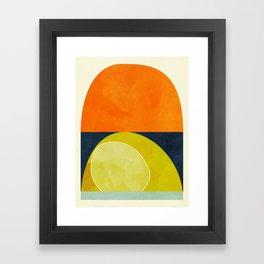 sun & moon abstract geometric shapes Framed Art Print