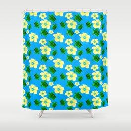 Yellow Hibiscus Hawaiian Pattern Shower Curtain