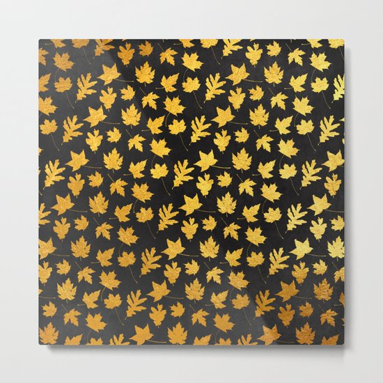 AUTUMN - gold leaves on chalkboard background Metal Print