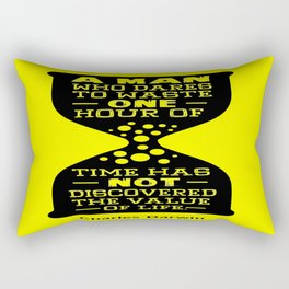 A man who dares to waste one hour of time Charles Darwin Famous Inspirational Quotes Rectangular Pillow