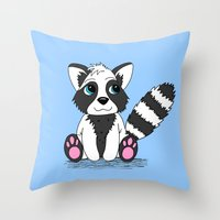 racoon Throw Pillows featuring Racoon by BlackBlizzard