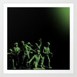 Plastic Army Man Battalion Black and Green Art Print