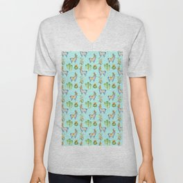 Hand painted teal blue pink yellow watercolor cactus Inca llamas Unisex V-Neck
