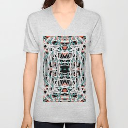 Blue Dashes | Saro-Gongo Pattern Unisex V-Neck