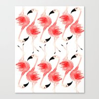 flamingos Canvas Prints featuring Flamingos! by Bouffants and Broken Hearts