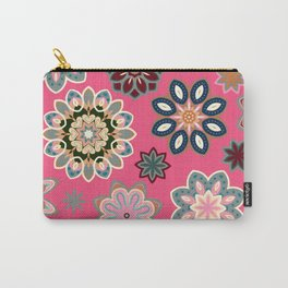 Flower retro pattern in vector. Blue gray flowers on pink background. Carry-All Pouch