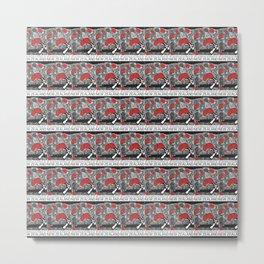 Mt Ruapehu/Pohutukawa Stamp Collage Metal Print