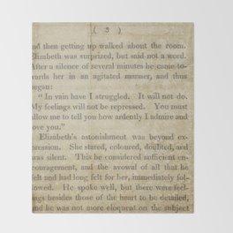 Pride and Prejudice  Vintage Mr. Darcy Proposal by Jane Austen   Throw Blanket