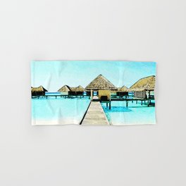 Watercolor Maldives Bungalow Hand & Bath Towel