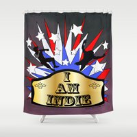 indie Shower Curtains featuring I am indie  by Los Espada Art